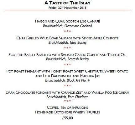 Bruichladdich Whisky Dinner at The Athenaeum Hotel, London